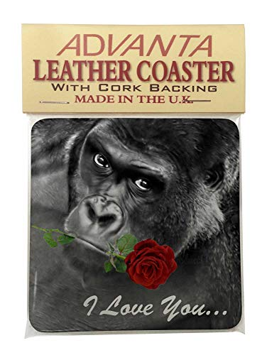 'I love you' Gorilla mit eine rote Rose Single Leder Foto Untersetzer Animal Rasse G (Single Rote Rose)