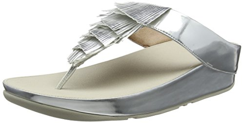 FitFlop Damen Cha Fringe Toe-Thong Sandals Peeptoe Silberfarben