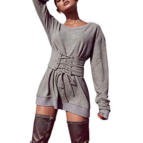 (MIRRAY Damen Herbst Solid Langarm O-Ansatz Bandage Casual Blusen Tops Shirts Tee Top)