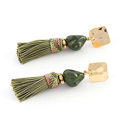 Boucle d'oreille longue femme avec soie frange de gland boucles combinée avec la pierre de style boho.Ruban de soie vintage.Goutte boucles. Vert