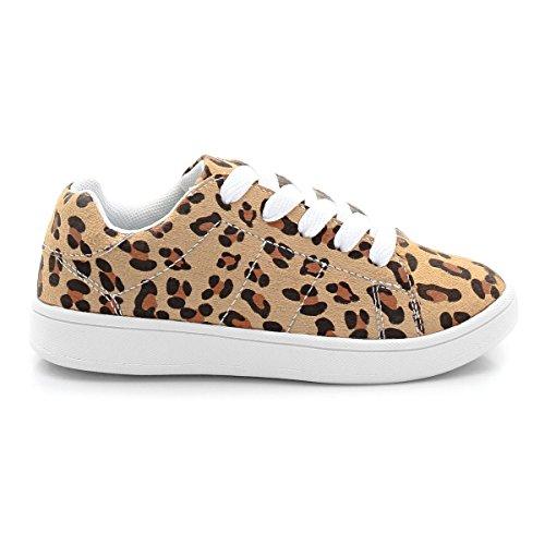 Abcd'r Mdchen Flache Sneakers Zum Schnuren Leopardenmuster
