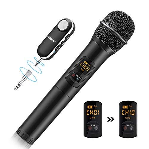 HF Mikrofon, kabelloses Handmikrofon Wireless Microfhone Tragbares Funkmikrofon Dynamisches Mikrofon Karaoke Anlage mit Empfänger wiederaufladbar Reichweite mehr als 50m ()