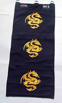 Wing Chun Canvas Wall Striking Bag 3 Unit - BLACK with GOLD DRAGON - low-cost UK canvas shop.