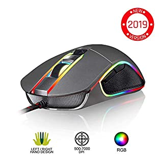 KLIM AIM Chroma RGB Gaming Mouse - 2019 Version - Kabel-USB - 500-7000 DPI einstellbar - Programmierbare Tasten - Bequem für alle Handgrößen - Beidhändiger Griff Gamer Gaming PC PS4 Xbox One - Grau