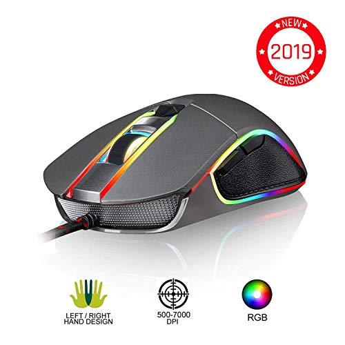 ⭐️KLIMTM AIM Souris Gamer - Souris de Jeu Chroma RGB USB Filaire - 500-7000 DPI - Boutons Programmables - Confortable pour Toute Taille de Main - Ambidextre Excellent Grip Gaming PC PS4 Xbox One - Gris