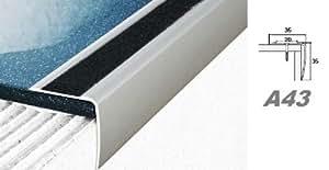 Aluprofile, Stufenleiste Kante Stufe Eckleiste mit Anti-Rutsch-Band 35x35mm, A43, Länge:1.20 Meter;Farbe:Champagne