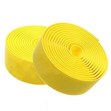 TOOGOO Rennrad Fahrrad Kork Lenkergriff Stab Griffband Lenkerband + 2 Stab Stecker-gelb