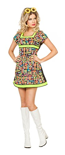 (Karneval Klamotten Hippie Kleid Kostüm Damen Flower-Power Kostüm Damen Disco-Kleid Damen-Kostüm Größe 42)