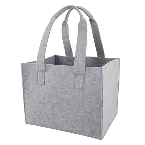 Stil-macher Sac en feutre Taille XXL = 75 L Supporte des charges élevées, pour les courses, le bois de cheminée, etc., gris moucheté, 48 x 40 x 39 cm (LxBxH)