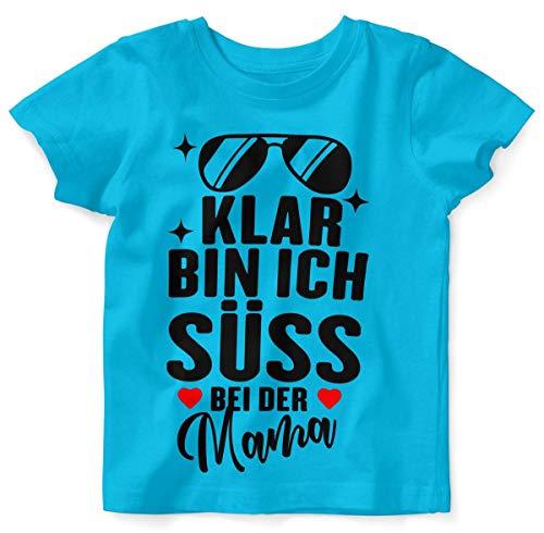 Mikalino Baby/Kinder T-Shirt mit Spruch für Jungen Mädchen Unisex Kurzarm Klar Bin ich süß - bei der Mama | handbedruckt in Deutschland | Handmade with Love, Farbe:Atoll, Grösse:80/86
