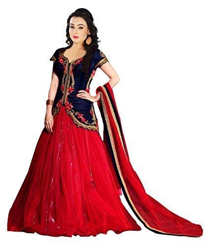 S R FASHION Women's Velvet & Net Lehenga choli (SRF_Lehenga_1918_Multi Colour_Free Size)