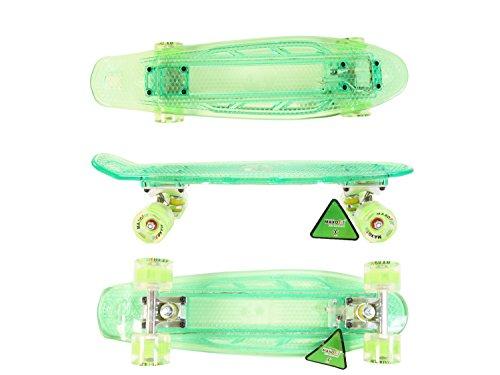 MAXOfit® Mini LED Skateboard GRÜN 55 cm (22 Zoll), mit integriertem LED Lichtband und LED Rollen
