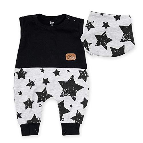 Baby Sweets Set Strampler Halstuch Unisex schwarz grau   Motiv: Stars   Babystrampler ohne Füße für Neugeborene & Kleinkinder   Größe: Newborn (56)... Haute Baby-sweet