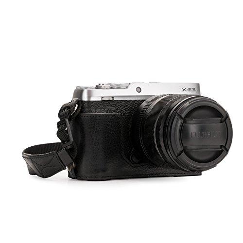 MegaGear Ever Ready Echtleder Kamera-Halbtasche mit Trageriemen und Batteriezugang für Fujifilm X-E3 schwarz