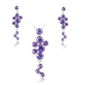 Fashion Plaza - Femme Parure - Plaqué Or Jaune Cristal Violet Collier Boucle d'oreille Bijou Ensemble S103