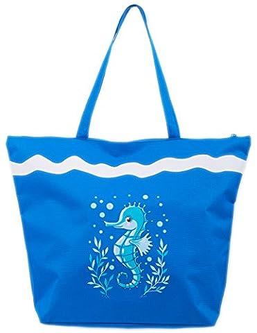 Beach Bag Womens Ladies Large Summer Beach Canvas Tote Bags Zip closure Airee Fairee (Seahorse Dark Blue)