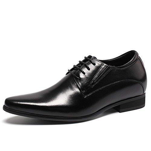 Chamaripa oxfords scarpe da sera con rialzo da uomo pelle che aumentano l¡¯altezza nero fino a 8 cm - h62d11k011d