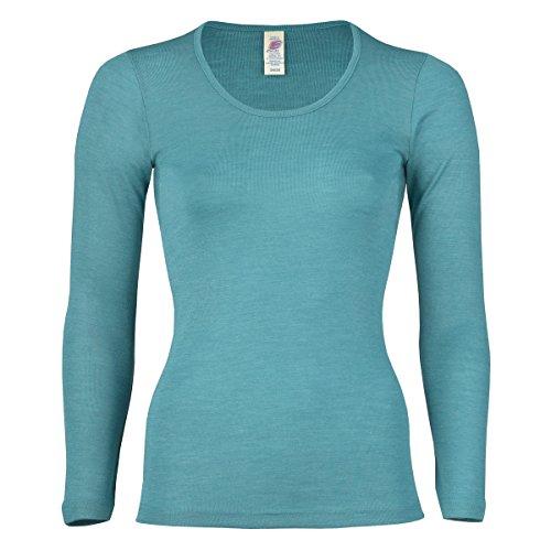 Engel Damen Unterhemd langarm, , 3 Farben, Gr. 34-48 (38/40, Eisvogel) - Langarm Unterwäsche