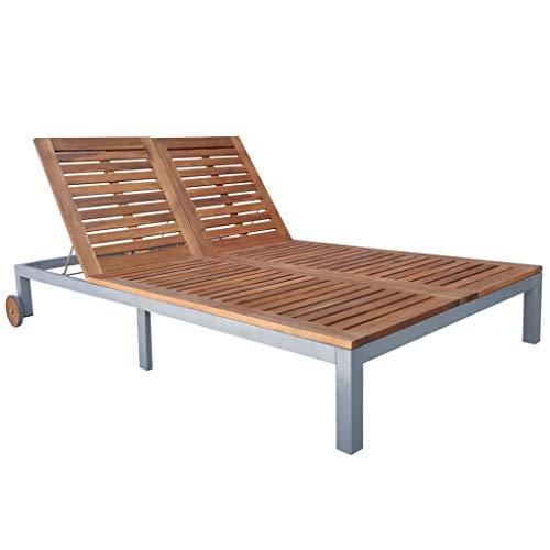 Festnight Chaise Longue Double de Jardin Bain de Soleil pour Patio ou Balcon en Bois Marron 207 x 130 x (31-88) cm