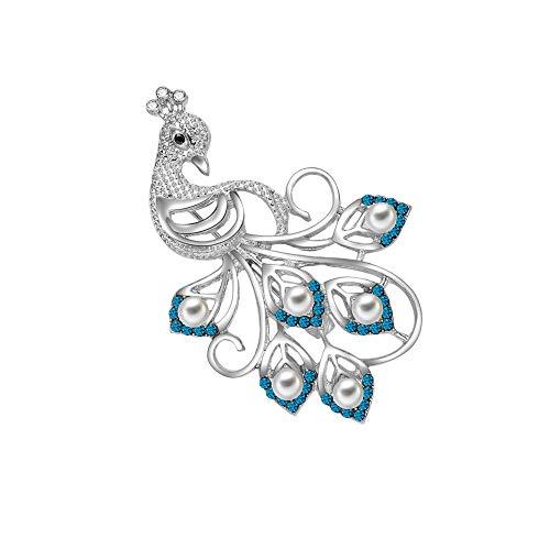 Eine Form Kragen (Qinlee Kristall Brosches Elegant Strass Pfau form Ansteckernadel Kleidung Kragen Pin Brooch Pin Mädchen Schmuck für Festival Party)