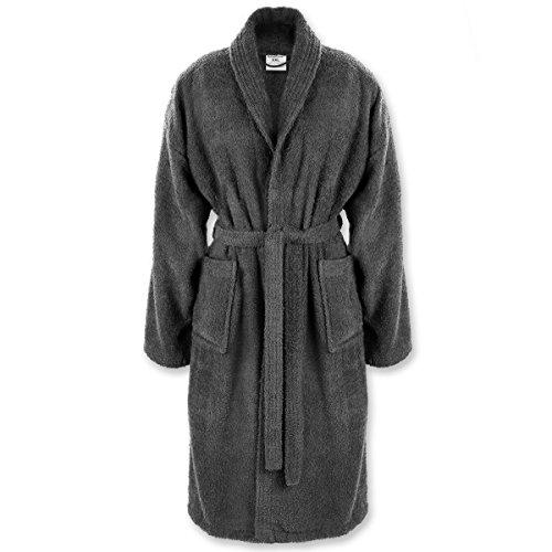Gräfenstayn Bademantel für Damen & Herren S–XXXL aus 100% Baumwolle in verschiedenen Farben – Öko-Tex Standard 100 (M, Anthrazit)