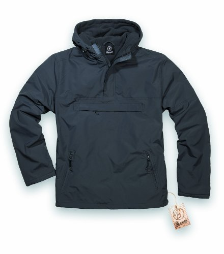 BRANDIT Side Zip Hooded Windbreaker Kapuzenjacke m. Fleece Futter, M (Kurze Side Pocket)