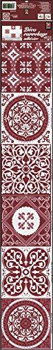 Plage Smooth - Tiles Fliesen Sticker Zementfliesen ROT [6 Bogen 15 x 15 cm x 5.90'' ], Vinyl, red, 15 x 0,1 x 15 cm -