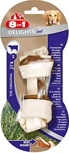 8in1 Delights Beef Kauknochen S, gesunder Kausnack für kleine sensible Hunde, 1 Stück (40 g) -