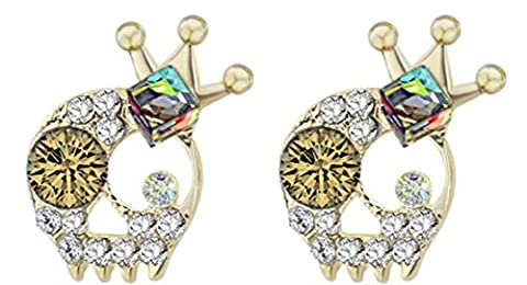 SaySure - Crown Skeleton Skull Rhinestone 3D Cube Crystal Stud Earrings