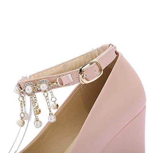 AllhqFashion Femme Rond Boucle Pu Cuir Mosaïque à Talon Correct Chaussures Légeres Rose