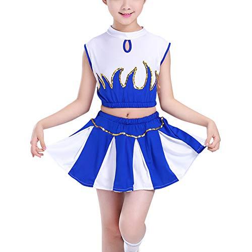 Daytwork Cheerleader Kinderkostüm Karneval Fasching - Kostüm Mädchen Schule Sporttreffen Pailletten Outfit Uniform Oberteil + - Schule Aerobic Kostüm