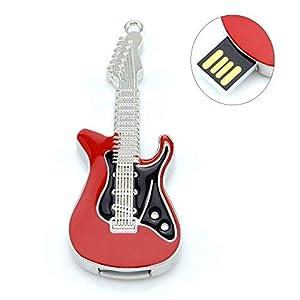 DDG EDMMS High-Speed-8/16/32/64 / 128GB USB 2.0 Mini-Gitarre Gitarre förmigen roten 64GB-Flash-Laufwerk-Memory-Stick