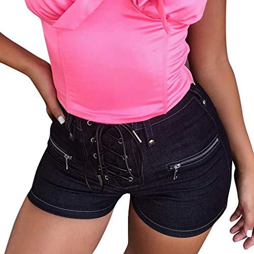 Frauen Sommer hot Pants, Hosen Kurzschluss Denim Hosen, mittlere Taillen Jeans dünne Verband heiße, Bluestercool Damen Capri Crop Shorts Stretch Denim Crop Hose
