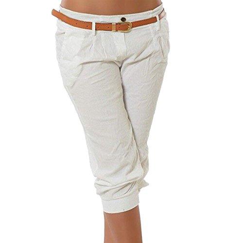 ShallGood Damen Haremshose Elegant Chino Capri Hosen Boyfriend Baggy Bermuda Pants Strand Jogginghose Mit Gürtel Weiß Large - Cuffed Bermuda Short