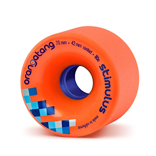 Orangatang Stimulus 70 mm 80a Freeride Longboard Skateboard Wheels (Orange, Set of 4)