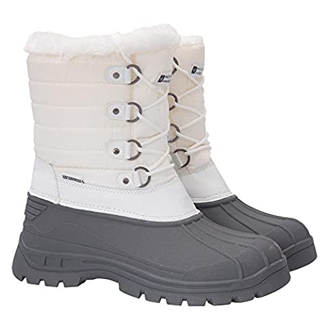 Mountain Warehouse Whistler Women's Snow Boots - Waterproof, Textile Upper with Reinforced Heel & Toe Bumpers - Great for Kicking the Snow Apres-Ski in Comfortable Style White 6 UK