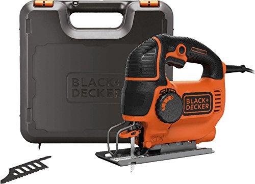 Black+Decker Elektro Stichsäge 620W KS901PEK / 4-stufige Pendelhubstichsäge mit Koffer für Holz, Metall & Kunststoff / Säge mit einfachem werkzeuglosen Sägeblattwechsel