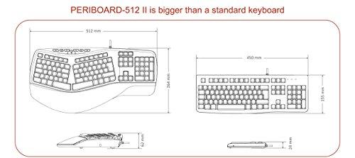 Perixx PERIBOARD-512 II Ergonomische Tastatur - Geteiltes Tastenfeld - USB - Empfohlen bei Tennisarm -QWERTZ Deutsches Layout - Schwarz - 3