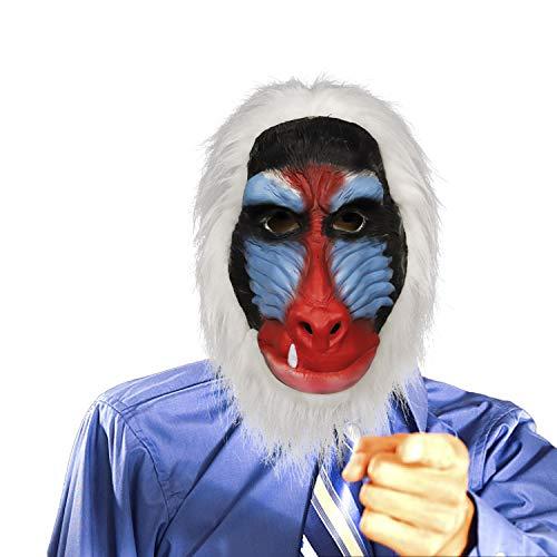 molezu Madagaskar Pavian Maske, Der König der Löwen Rafiki Kostüm Latex Masken, Dschungeltiere Schimpanse Affenkopf Gummimaske Affenprimas (Der König Kostüm)