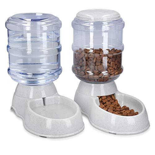 Navaris Dispensador automático de Comida y Agua - Comedero y Bebedero para Perros y Gatos - 3.8L Cada uno - 2 dispensadores con Botella para Mascotas
