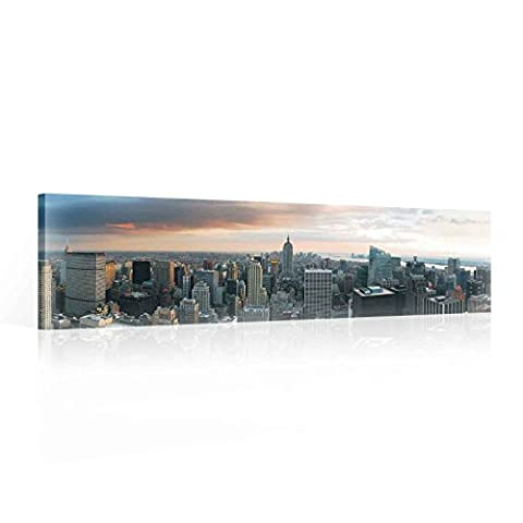 City New York Skyline Canvas Print - Photo Print - O3 - 145cm x 45cm - Premium 260gsm Canvas, Hand-Finished, Solid MDF Frame - 2.6cm Thick - Integrated Hanging Hook - City and Urban Collection - (PP155O3)