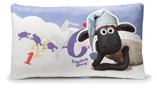 Nici 41471 Shaun Das Schaf Kissen mit Schlafmütze rechteckig, 43 x 25 cm, Farbe: Vorderseite, Rückseite Blau Mit Weißen Wolken