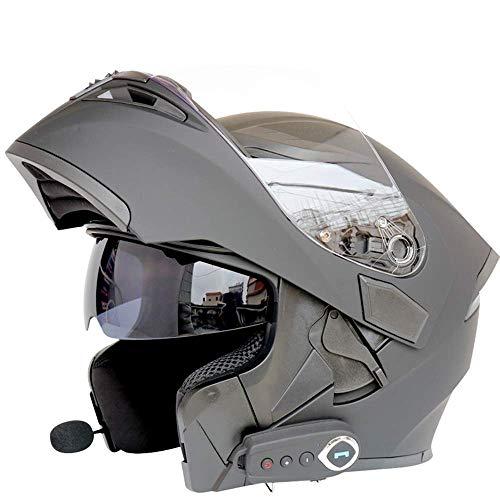 Caschi moto modulari bluetooth + fm dot certification flip up touring caschi auricolare bluetooth dual-speaker integrato con microfono per risposta automatica m-l59cm ~ 60cm,black,xl