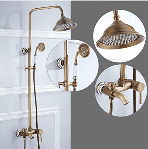 EuropäIschen Stil Voller Kupfer Antike Dusche Duschset Keramikbasis Vintage Luxus Duschset Dusche