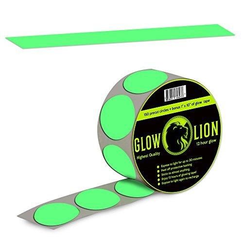 Glow in the Dark Tape Punkte + 25,4cm nachtleuchtendes Klebeband | 150Punkte
