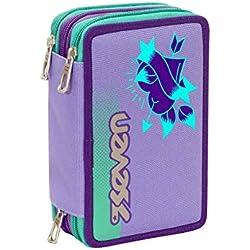 ASTUCCIO scuola SEVEN - COLOR GIRL - 3 scomparti - pennarelli matite gomma ecc.. Viola