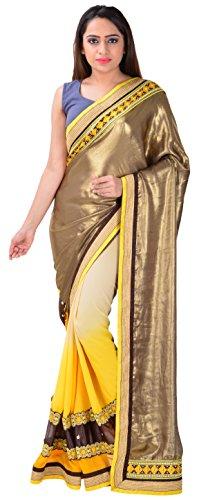 Takshika Sarees Satin Saree (10006_Gold And Yellow)