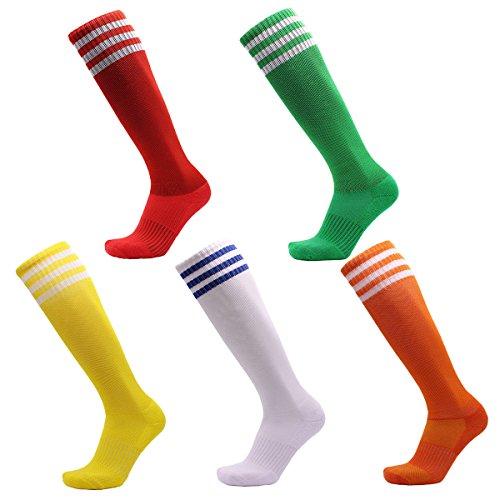 VWU Unisex Jungen Frauen Herren Mädchen Athletisch Fußball Sport Kniehohe Streifen Tube Socken Baumwolle 5er Pack (35-38) - Frauen Athletische Socken