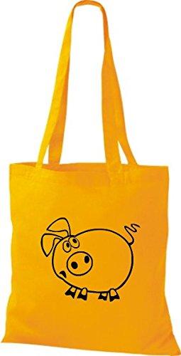 Shirtstown Pochette en tissu Animaux Cochon sau Porcinet Jaune - goldgelb