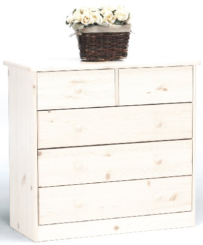 Steens Mario - Cómoda con 5 cajones, color blanco